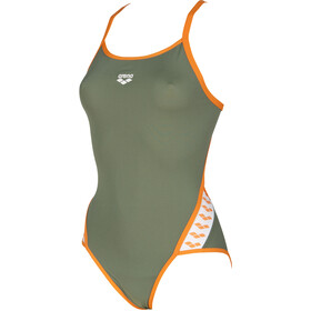 arena Team Stripe Super Fly Back One Piece Swimsuit Dame army-tangerine